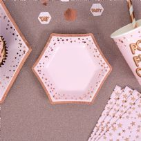 Glitz & Glamour Pink & Rose Gold Stars Small Plates (8)